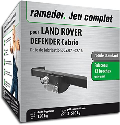 Rameder Pack, attelage rotule Standard 2 Trous + Faisceau 13 Broches Compatible avec Land Rover Defender Cabrio (161156-04672-2-FR).