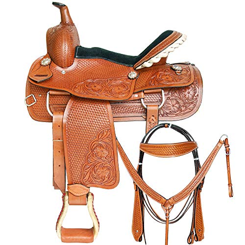 Great American 15 in Western Horse Saddle Leather Trail Pleasure Tack Set