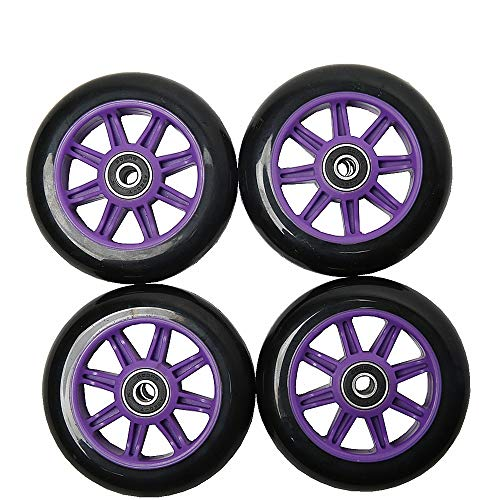 FREEDARE Scooter Wheels with Bearings Scooter Replacement Wheels 100mm 4PCS(Purple&Black)