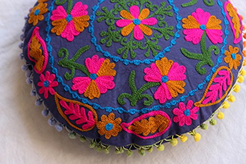 HANDICRAFTOFPINKCITY Cotton Ottoman Indian Suzani Cushion Cover Handmade Round Pouffe 16'' Size Pillow Case