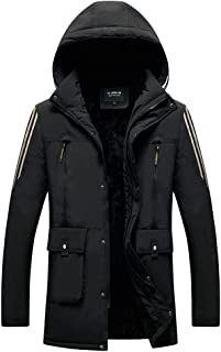 $22 Get FraftO Hooded Jackets for Men Front Zip Jacket Outdoor Warm Casual Jacket Coat Soft Shell Jacket M-4XL