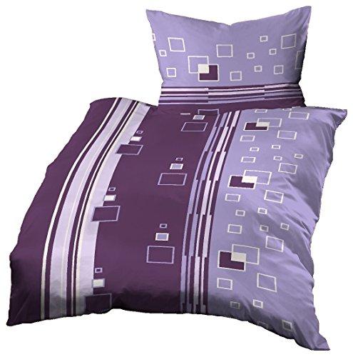 Gerald Wittmann Juego de Funda Nórdica Cama/Edredón de Microfibra, Moderno Cuadros, Morado/Púrpura/Violeta, 140x200 cm + 70x90 cm