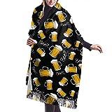 Bingyingne Patrón de taza de cerveza Bufanda de moda de invierno para mujer Cashmere Feel Pashmina C...