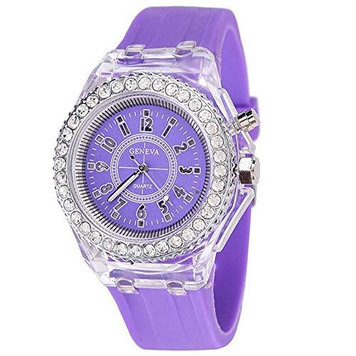 Kinderen kijken XYDBB kleurrijke LED lichtgevende kinderen kijken zachte siliconen digitale horloges klok voor mannen vrouwen kinderen studenten zoals afgebeeld6 paars