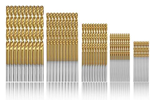 Estmoon 100 Stück HSS Bohrer Set Metall Spiralbohrer Set Handspiralbohrer Bohrersets Werkzeuge 1/1,5/2/ 2,5/3 mm