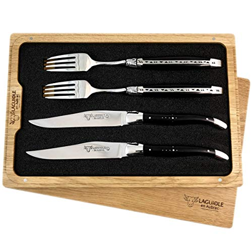 LAGUIOLE en Aubrac Premium Steakbesteck geschmiedet Set 2 Steakmesser und 2 Steakgabeln Ebenholz