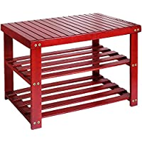 Camabel 3-Tier Bamboo Shoe Rack Bench (Red)