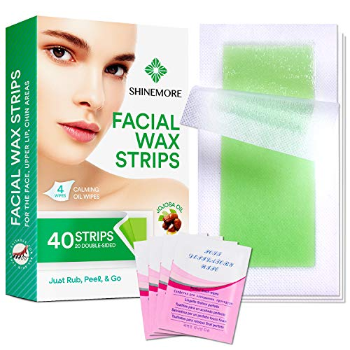 Facial Wax Strips - Hypoallergenic All Skin Types - Facial Hair Removal For Women - Gentle and Fast-Working for Face, Eyebrow, Upper Lip, Chin (40 Wax Strips + 4 Calming Oil Wipes)