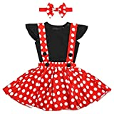 Kid Baby Girl Polka Dot Fancy Costume Suspender Skirt 3 PCS Outfit T-Shirt Ruffle Romper Bodysuit Top Winter Christmas Holiday Overalls Strap Dress Up Boutique Headband Clothes Set 18-24 Months