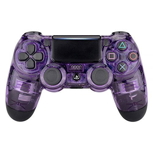 eXtremeRate Transparent Crystal Clear Purple Front Housing Shell Faceplate Cover for Playstation 4...