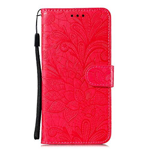 Tosim Moto E6Play Hülle Klappbar Leder, Brieftasche Handyhülle Klapphülle mit Kartenhalter Stossfest Lederhülle für Motorola Moto E6 Play - TOEBE020706 Rot