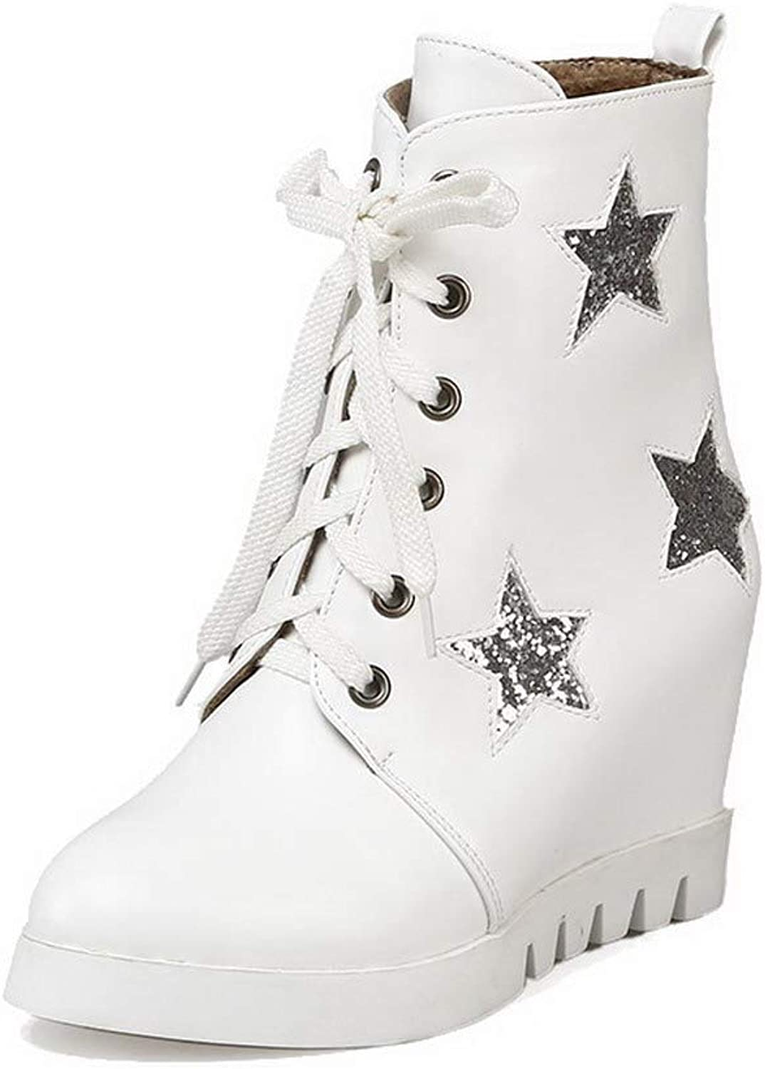 WeenFashion Women's Lace-Up High-Heels Pu Assorted color Low-Top Boots, AMGXX126053