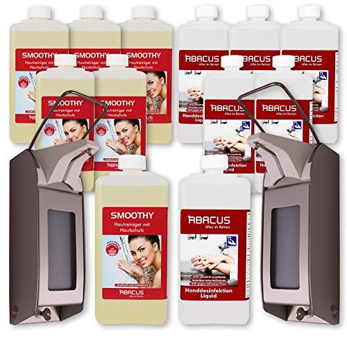 ABACUS 2x Seifenspender OPHARDT Hygiene ingo-man Plus für 1000 ml mit 6x 1000 ml Desi Liquid und 6x Smoothy Handseife Wandhalterung Spender für Desinfektionsmittel Flüssigseife (7620)