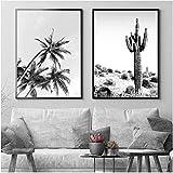 Cuadros de arte de pared Negro Blanco Océano Palma Cactus Lienzo Pintura Carteles costeros e impresiones Decoración nórdica Cuadro de pared 2 piezas 40x60cm sin marco