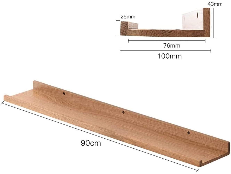 人差し指鉱石継承ブラウンサイズ:10 * 30センチメートルをベッド棚ベッドソリッドリビングルームオフィス収納カラーラックウォールマウント LCSHAN (Color : Wood, Size : 10*90cm)
