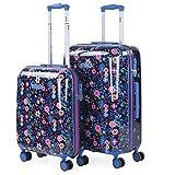 SKPAT - Set de Dos Maletas de Viaje rígidas Infantiles tamaño 50/60 Fabricadas con policarbonato, un Material y Cierre TSA 131500, Color Marino