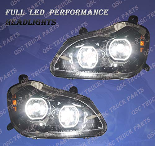QSC Full LED Performance Black Headlight Assembly LH RH Pair for Kenworth T680