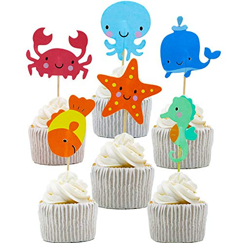 NEPAK 96 Stück Geburtstag Tortendeko,Ocean Sea Animal Cupcake Toppers für die Themenparty Under the Sea, Kinder Geburtstag Party Deko