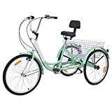Adult Tricycles 7 Speed, Adult Trikes 20/24/26 inch 3 Wheel Bikes, Three-Wheeled Cruise Trike with Large Basket for Recreation, Shopping, Picnics Exercise Men's Women's Bike