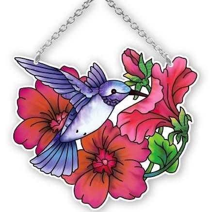 Joan Baker Designs SSC1026R Hummingbird and Petunia Art Glass Suncatcher