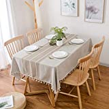 Furnily Rechteck Dekoration Tischdecke 140 cm x 200cm Baumwolle Leinen elegante Tischdecke mit Quaste Edge Staubdichte waschbare Küchentischabdeckung für Speisetisch (Leinen) - 4