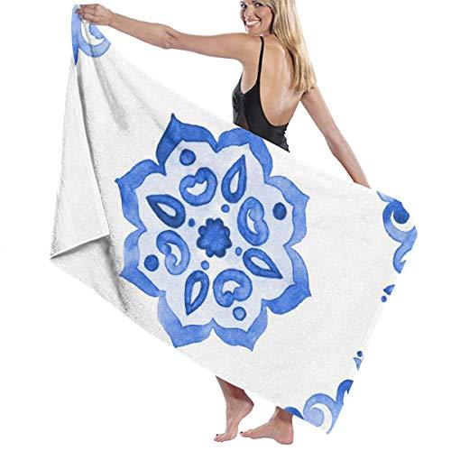 Delfts blauwe stijl aquarel tegel Amsterdam Vintage Utopia Handdoeken Snelle Droge Microvezel Badhanddoek Zwembad Gym Handdoeken Hotel Kwaliteit Voor Unisex Gepersonaliseerd