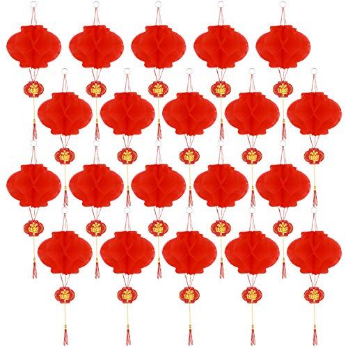 tiopeia 20 Stück Rote Chinesische Laternen, 6 Zoll Kunststoff Lampions, Laternen Dekorationen für Chinesische Frühlingsfest, Laterne Festival, Hochzeit