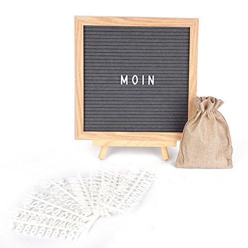 ewtshop Letter Board de madera y fieltro – Letras pizarra con 170 letras blancas y números – Diseño retro