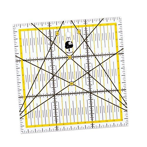 OfficeTree Regla Universal - Regla de Patchwork 15 x 15 cm arcillo - Regla Lineal de Patchwork para Cortes con Medidas exactas
