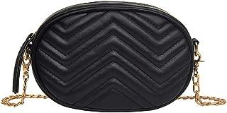 DLiQ Women Waist Bum Bag, PU Leather Belt Bag, Fashion Belt Pack, Waterproof Multifunctional Lightweight fanny pack, Chest Bag for Party, Travel, Hiking, Sports (Black)