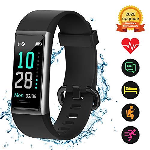 Kungix Fitness Armband, IP68 Wasserdichtes Fitness Tracker mit Angeschlossenem GPS, Fitness Uhr mit Pulsmesser, Schrittzähler, Activity Tracker Uhr mit 14 Sport-Trainingsmodi, für iOS Android iPhone