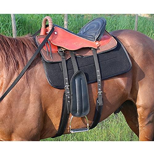 KOQIO Juego de sillín de cuero de primera calidad, transpirable, asiento de carreras con estribo ecuestre y brida de caballo para arnés de equitación grande, naranja, B