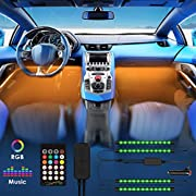 Led Lights for Car, Interior Car Lights with Remote & APP Car LED Strip Lights Upgraded 4PCS 72 LEDs Car Interior Lights Multi DIY Color LED Lighting Kits Sync to Music with Long Wires for Cars DC 12V