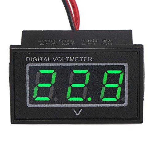 """DROK 090692 0.56"""" Waterproof DC 15-120V Digital Voltmeter Voltage Measurement Gauge Blue/Green LED Panel 24V Volt Meters (Green)"""
