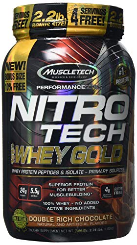 MuscleTech NitroTech Whey Gold, 100 Percent Pure Whey Protein, Double Rich Chocolate, 1.02 kg
