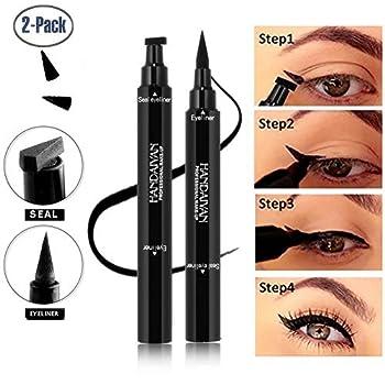 BONNIESTORE 2 Pack Dual-ended Winged Eyeliner Stamp Waterproof Black Seal Pencil Long Lasting Wing Makeup Eye Liner Pen - 2 PACK