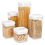 Navaris Juego de 5 recipientes herméticos para Alimentos - Botes para almacenar Pasta Cereales arroz Galletas - Contenedores Transparentes sin BPA