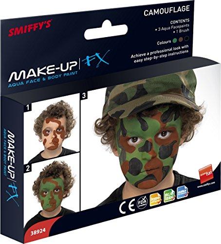 Smiffys - Camouflage Aqua Face Paint Kit,3 Colours
