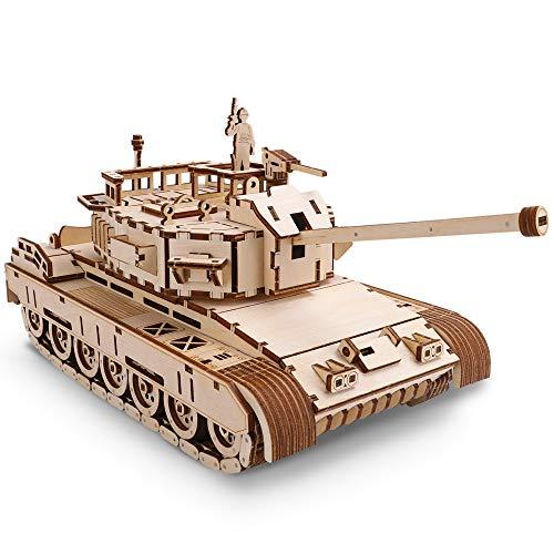 GuDoQi 3D Holz Puzzle, Panzer mit Metallfedermotor und Soldat, Mechanischer Holzbausatz Tank zum Bauen, DIY Montage Holzpuzzle Spielzeug, Bastelset, Geschenk aus Holz fur Erwachsene Männer Jugendliche