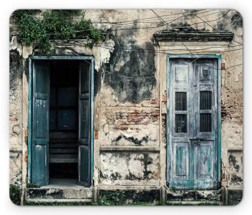 Rustikale Mauspad Türen des alten Felsenhauses mit französischen Rahmendetails im ländlichen europäischen Vergangenheitsthema Rechteck rutschfestes Gummi-Mauspad Standardgröße blaugrün