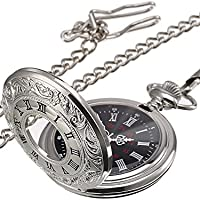 Reloj de Bolsillo de Cuarzo Plateado Clásico de Números Romanos con Cadena (Dial de Color Negro)