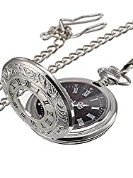Size: this silver pocket watch diameter is approximately 4.6 cm/ 1.8 inches, small size for easy to carry; The chain is 37 cm/ 14.57 inches long, long enough to secure the pocket watch easily Clear to read the time: black dial with white hour, minute...