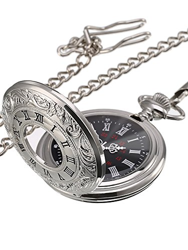 Classic Roman Numerals Silver Quartz Pocket Watch with Chain (Dial Color Black)