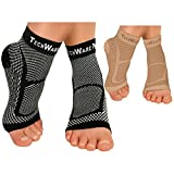 TechWare Pro Ankle Brace Compression Sleeve - Relieves Achilles Tendonitis, Joint Pain. Plantar Fasciitis Sock with Foot Arch Support. 2 Pair Bundle Black & Beige S/M Size