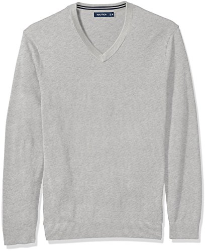 Nautica Men's Standard Long Sleeve Solid Classic V-Neck Sweater, Grey Heather, X-Large