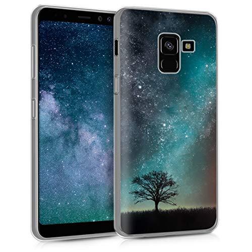 kwmobile Hülle kompatibel mit Samsung Galaxy A8 (2018) - Handyhülle - Handy Case Galaxie Baum Wiese Blau Grau Schwarz