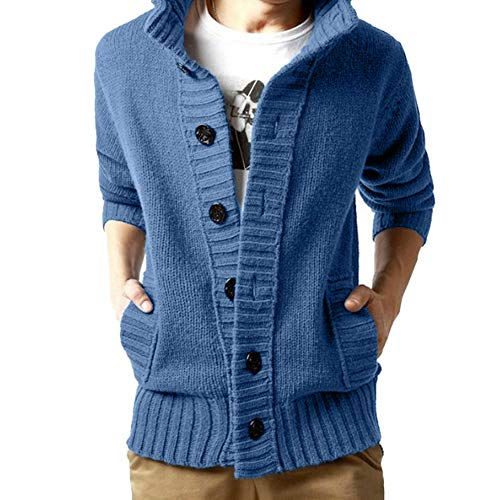Clearance Forthery Mens Coat Pullover Knit Sweater Button Down Winter Warm Outwear(Blue, US Size XL = Tag 2XL)