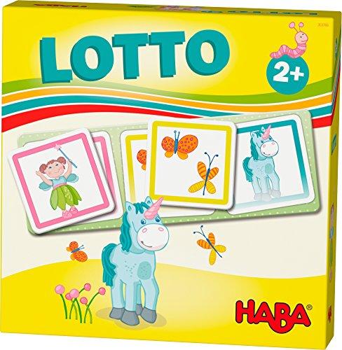 HABA 303766 - HABA-Lieblingsspiele – Lotto Feenland   Lottospiel mit 4 Ablagekarten und 12 extragroßen Lottokarten aus Pappe   Zuordnungsspiel mit bunten Feenland-Motiven   Spielzeug ab 2 jahren