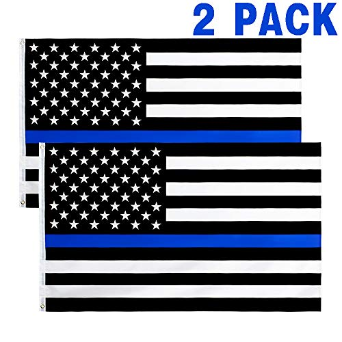 hxflag 3x5 Fts Thin Blue Line American Flag - Honoring Law Enforcement Officers Flags - 2 Pack