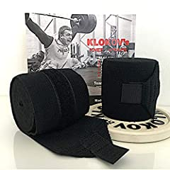 The knee wraps were developed by Dmitry Klokov. Made in Russia - guarantee robustness and durability Give your knees the extra support they need during lunges, squats, and other powerful moves with these durable Knee Wraps. Compression & Elastic Supp...